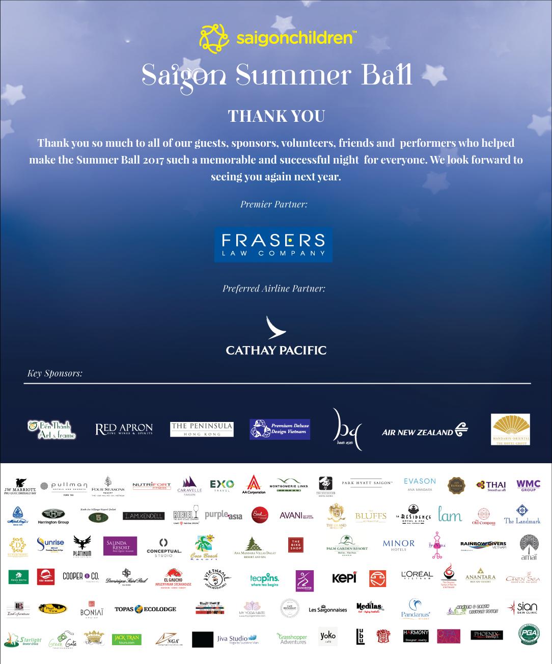 Saigon Summer Ball 2017 - Saigon Children's Charity CIO